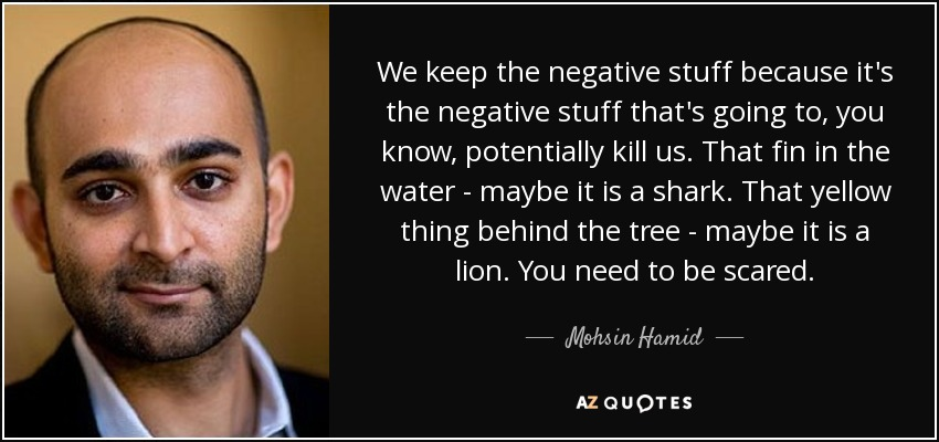 We keep the negative stuff because it's the negative stuff that's going to, you know, potentially kill us. That fin in the water - maybe it is a shark. That yellow thing behind the tree - maybe it is a lion. You need to be scared. - Mohsin Hamid