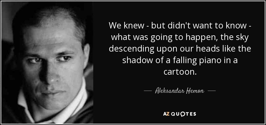 We knew - but didn't want to know - what was going to happen, the sky descending upon our heads like the shadow of a falling piano in a cartoon. - Aleksandar Hemon