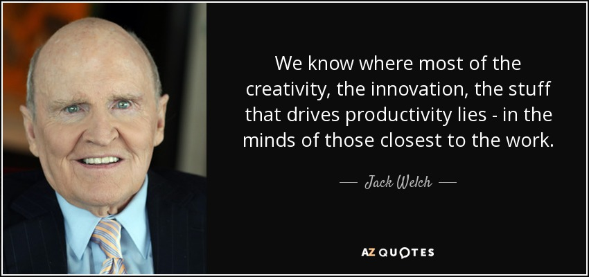 We know where most of the creativity, the innovation, the stuff that drives productivity lies - in the minds of those closest to the work. - Jack Welch