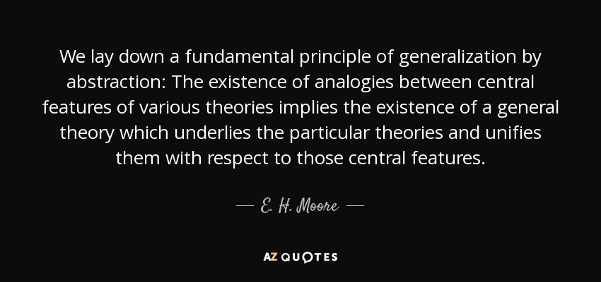 We lay down a fundamental principle of generalization by abstraction: The existence of analogies between central features of various theories implies the existence of a general theory which underlies the particular theories and unifies them with respect to those central features. - E. H. Moore