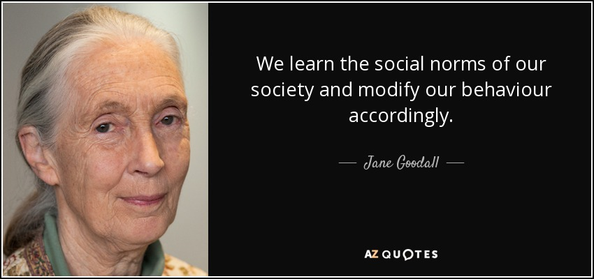 We learn the social norms of our society and modify our behaviour accordingly. - Jane Goodall