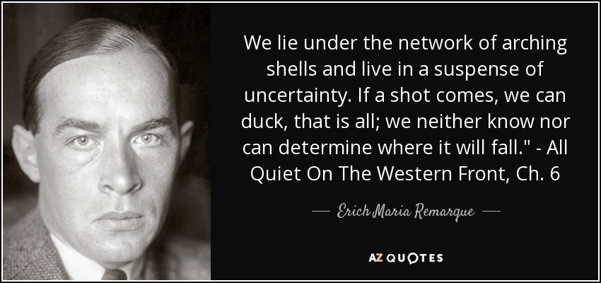 We lie under the network of arching shells and live in a suspense of uncertainty. If a shot comes, we can duck, that is all; we neither know nor can determine where it will fall.