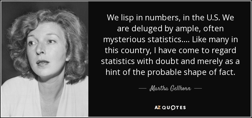 We lisp in numbers, in the U.S. We are deluged by ample, often mysterious statistics. ... Like many in this country, I have come to regard statistics with doubt and merely as a hint of the probable shape of fact. - Martha Gellhorn