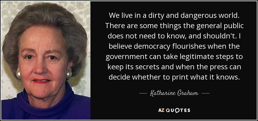 Katharine Graham Quote We Live In A Dirty And Dangerous World
