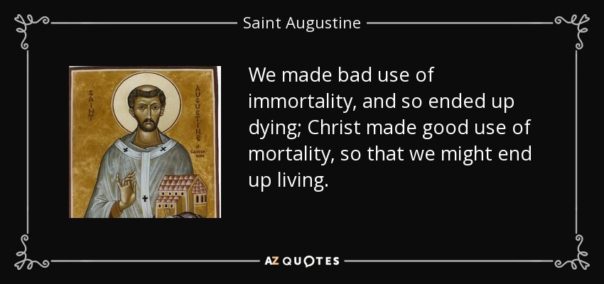 We made bad use of immortality, and so ended up dying; Christ made good use of mortality, so that we might end up living. - Saint Augustine