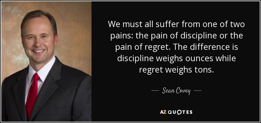 We must all suffer from one of two pains: the pain of discipline or the pain of regret. The difference is discipline weighs ounces while regret weighs tons. - Sean Covey