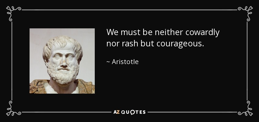 We must be neither cowardly nor rash but courageous. - Aristotle