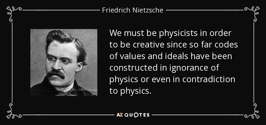We must be physicists in order to be creative since so far codes of values and ideals have been constructed in ignorance of physics or even in contradiction to physics. - Friedrich Nietzsche