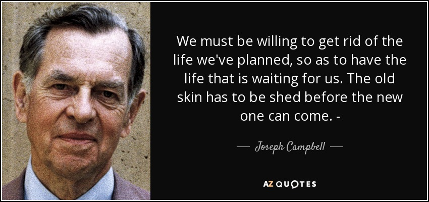 We must be willing to get rid of the life we've planned, so as to have the life that is waiting for us. The old skin has to be shed before the new one can come. - - Joseph Campbell
