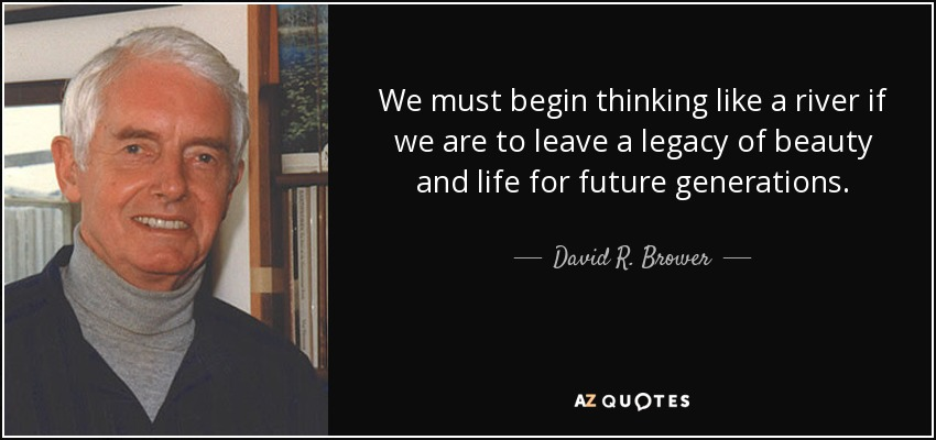 We must begin thinking like a river if we are to leave a legacy of beauty and life for future generations. - David R. Brower
