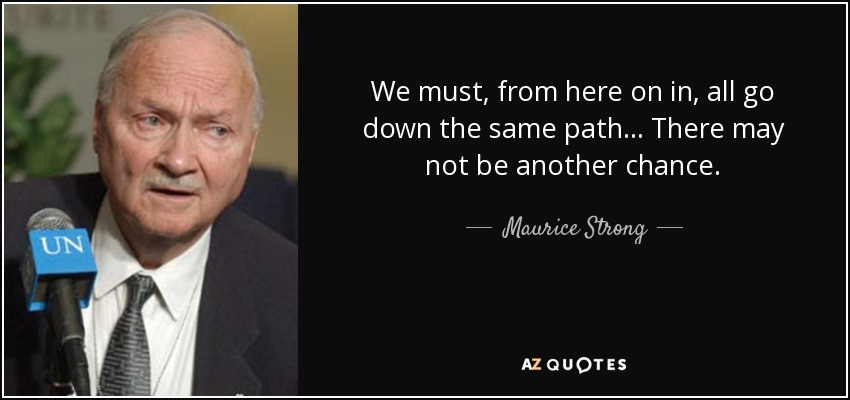 We must, from here on in, all go down the same path... There may not be another chance. - Maurice Strong