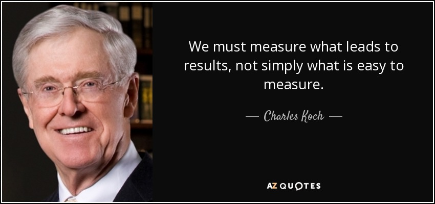 We must measure what leads to results, not simply what is easy to measure. - Charles Koch