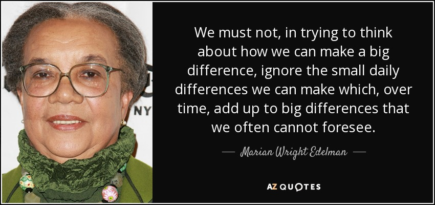 We must not, in trying to think about how we can make a big difference, ignore the small daily differences we can make which, over time, add up to big differences that we often cannot foresee. - Marian Wright Edelman