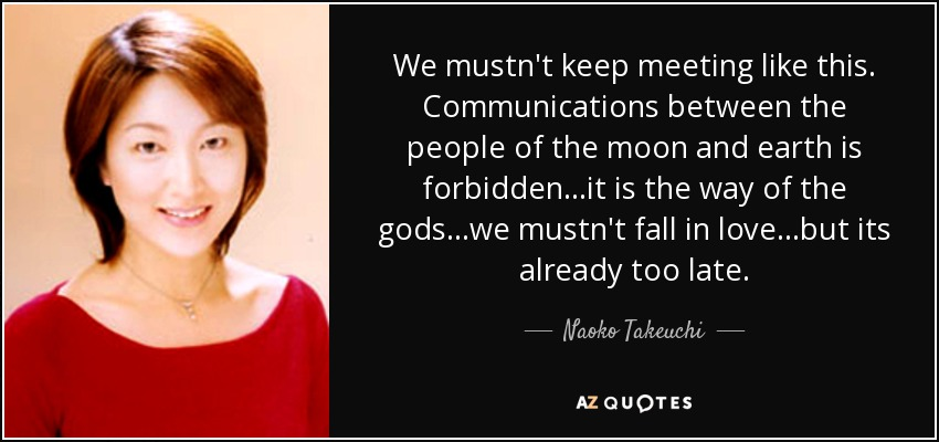 We mustn't keep meeting like this. Communications between the people of the moon and earth is forbidden...it is the way of the gods...we mustn't fall in love...but its already too late. - Naoko Takeuchi