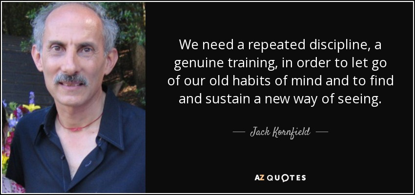 We need a repeated discipline, a genuine training, in order to let go of our old habits of mind and to find and sustain a new way of seeing. - Jack Kornfield
