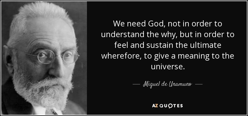 We need God, not in order to understand the why, but in order to feel and sustain the ultimate wherefore, to give a meaning to the universe. - Miguel de Unamuno