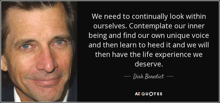 We need to continually look within ourselves. Contemplate our inner being and find our own unique voice and then learn to heed it and we will then have the life experience we deserve. - Dirk Benedict