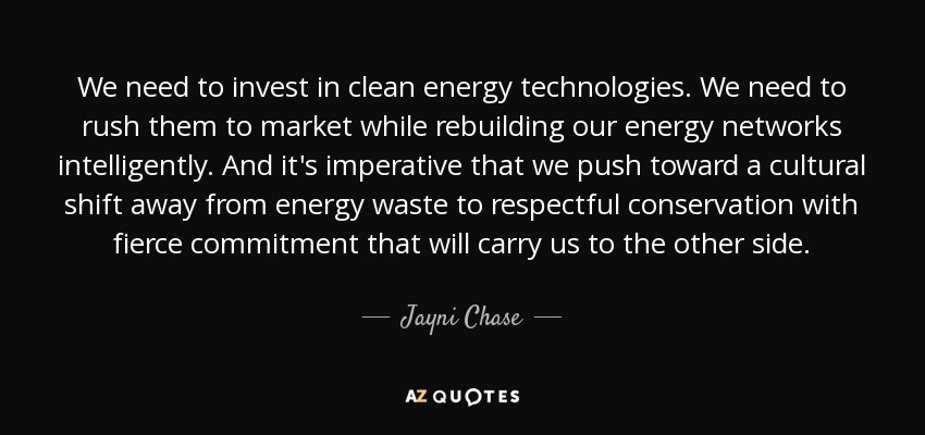 We need to invest in clean energy technologies. We need to rush them to market while rebuilding our energy networks intelligently. And it's imperative that we push toward a cultural shift away from energy waste to respectful conservation with fierce commitment that will carry us to the other side. - Jayni Chase