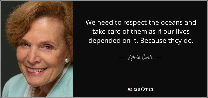 We need to respect the oceans and take care of them as if our lives depended on it. Because they do. - Sylvia Earle