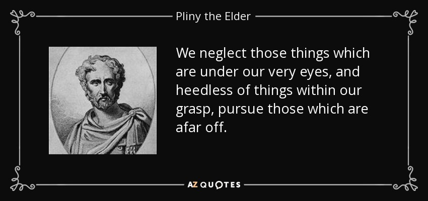We neglect those things which are under our very eyes, and heedless of things within our grasp, pursue those which are afar off. - Pliny the Elder