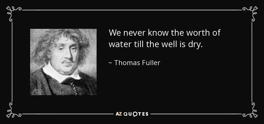 We never know the worth of water till the well is dry. - Thomas Fuller