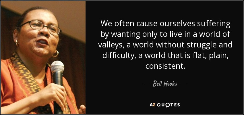 We often cause ourselves suffering by wanting only to live in a world of valleys, a world without struggle and difficulty, a world that is flat, plain, consistent. - Bell Hooks