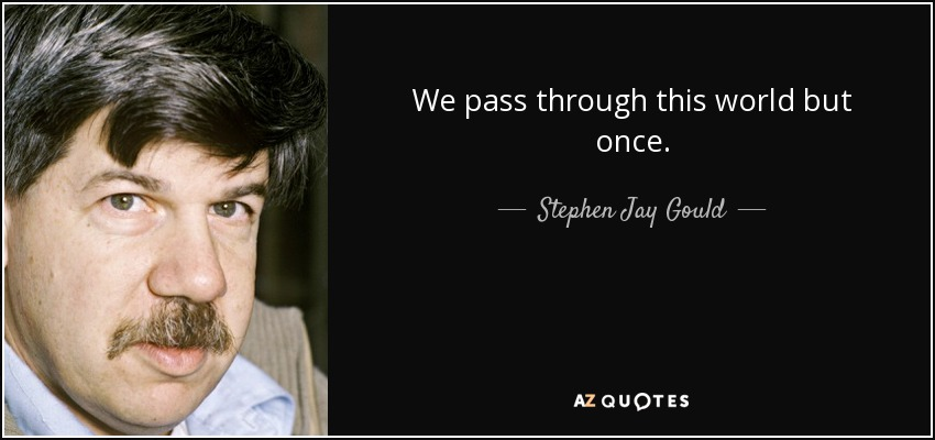 We pass through this world but once. - Stephen Jay Gould