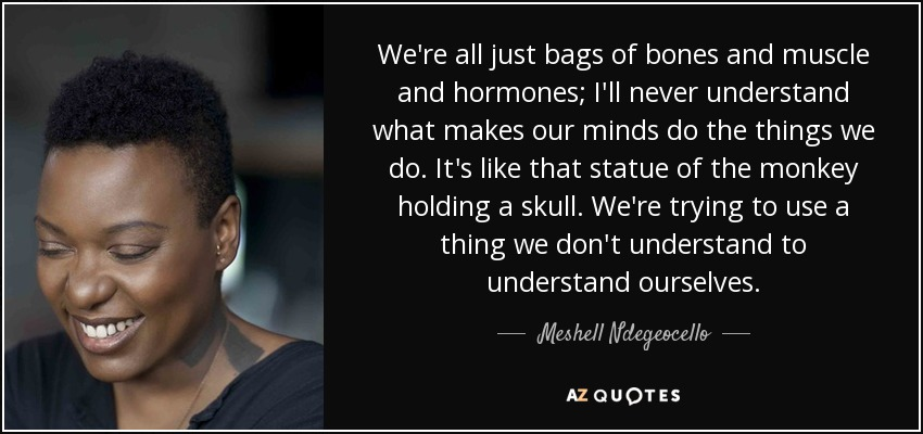 We're all just bags of bones and muscle and hormones; I'll never understand what makes our minds do the things we do. It's like that statue of the monkey holding a skull. We're trying to use a thing we don't understand to understand ourselves. - Meshell Ndegeocello