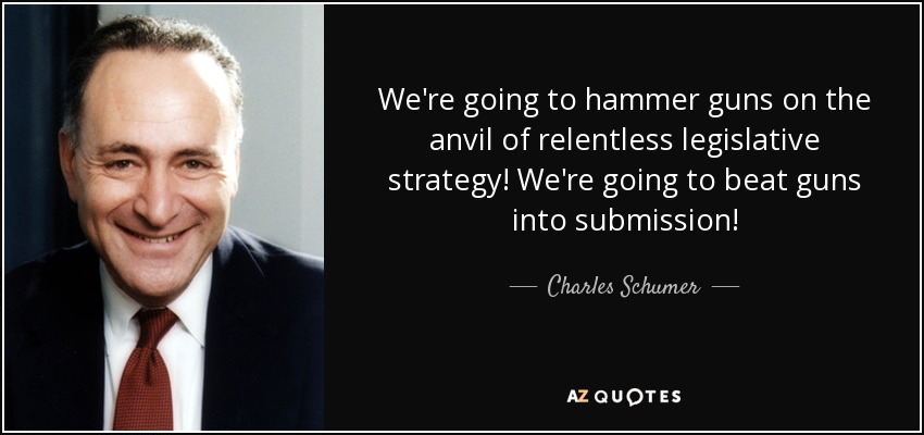 We're going to hammer guns on the anvil of relentless legislative strategy! We're going to beat guns into submission! - Charles Schumer