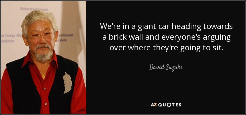 We're in a giant car heading towards a brick wall and everyone's arguing over where they're going to sit. - David Suzuki