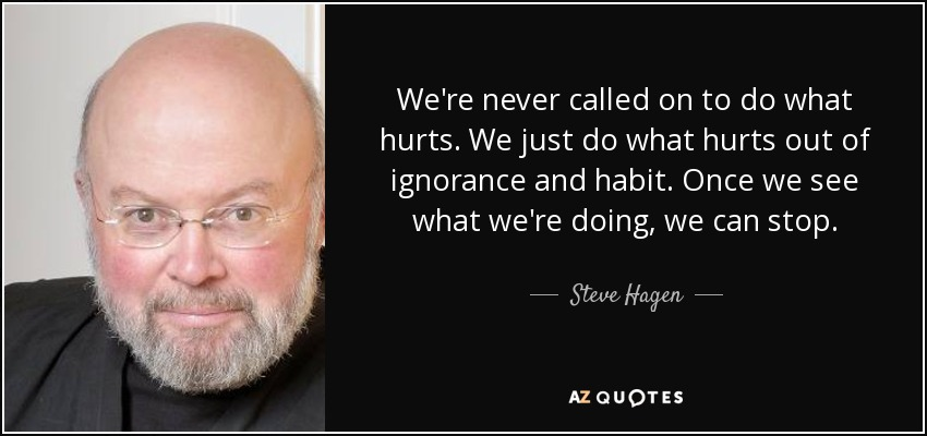 We're never called on to do what hurts. We just do what hurts out of ignorance and habit. Once we see what we're doing, we can stop. - Steve Hagen