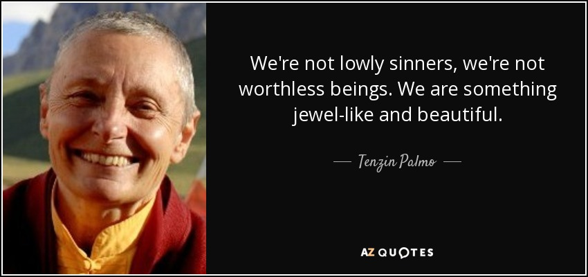 We're not lowly sinners, we're not worthless beings. We are something jewel-like and beautiful. - Tenzin Palmo