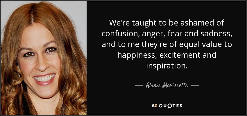 We're taught to be ashamed of confusion, anger, fear and sadness, and to me they're of equal value to happiness, excitement and inspiration. - Alanis Morissette