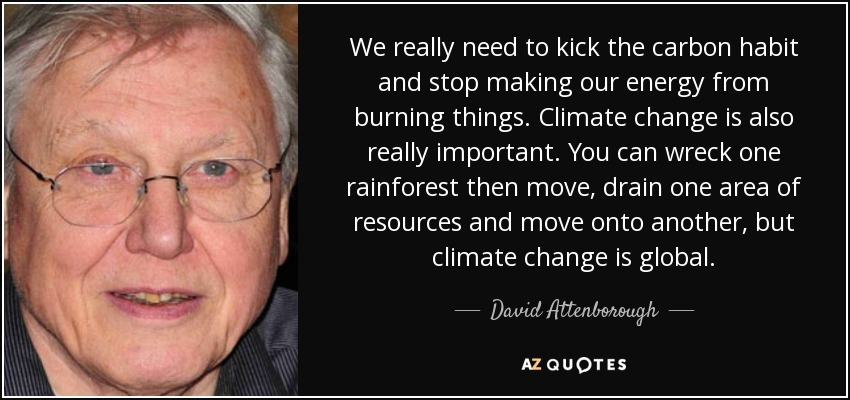 We really need to kick the carbon habit and stop making our energy from burning things. Climate change is also really important. You can wreck one rainforest then move, drain one area of resources and move onto another, but climate change is global. - David Attenborough