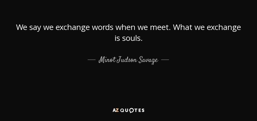 We say we exchange words when we meet. What we exchange is souls. - Minot Judson Savage