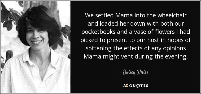 We settled Mama into the wheelchair and loaded her down with both our pocketbooks and a vase of flowers I had picked to present to our host in hopes of softening the effects of any opinions Mama might vent during the evening. - Bailey White