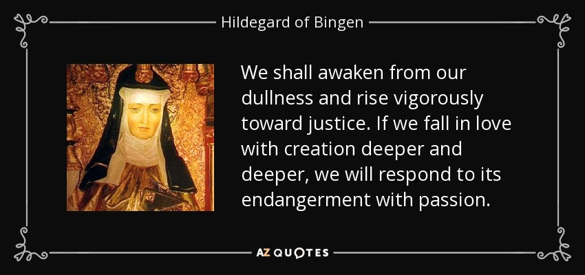 We shall awaken from our dullness and rise vigorously toward justice. If we fall in love with creation deeper and deeper, we will respond to its endangerment with passion. - Hildegard of Bingen