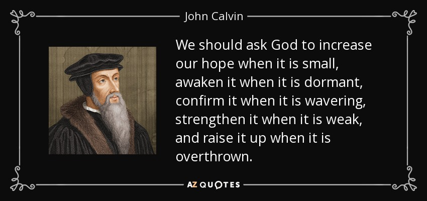 We should ask God to increase our hope when it is small, awaken it when it is dormant, confirm it when it is wavering, strengthen it when it is weak, and raise it up when it is overthrown. - John Calvin