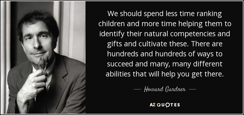 We should spend less time ranking children and more time helping them to identify their natural competencies and gifts and cultivate these. There are hundreds and hundreds of ways to succeed and many, many different abilities that will help you get there. - Howard Gardner