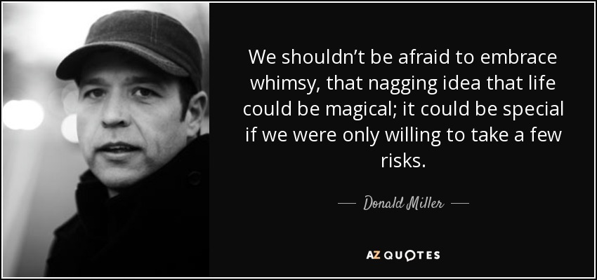 We shouldn't be afraid to embrace whimsy, that nagging idea that life could be magical; it could be special if we were only willing to take a few risks. - Donald Miller