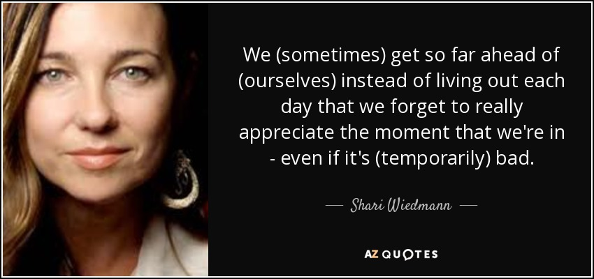 We (sometimes) get so far ahead of (ourselves) instead of living out each day that we forget to really appreciate the moment that we're in - even if it's (temporarily) bad. - Shari Wiedmann