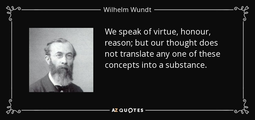 We speak of virtue, honour, reason; but our thought does not translate any one of these concepts into a substance. - Wilhelm Wundt