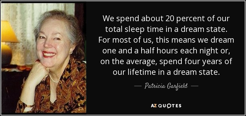 We spend about 20 percent of our total sleep time in a dream state. For most of us, this means we dream one and a half hours each night or, on the average, spend four years of our lifetime in a dream state. - Patricia Garfield