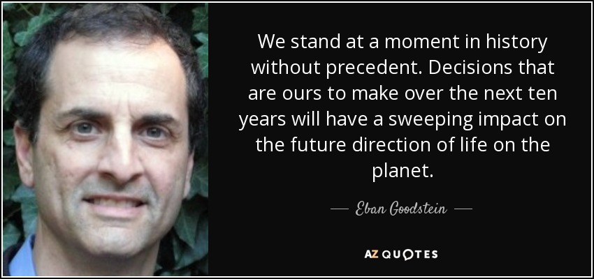 We stand at a moment in history without precedent. Decisions that are ours to make over the next ten years will have a sweeping impact on the future direction of life on the planet. - Eban Goodstein