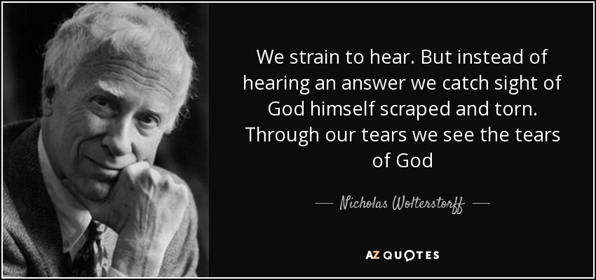We strain to hear. But instead of hearing an answer we catch sight of God himself scraped and torn. Through our tears we see the tears of God - Nicholas Wolterstorff