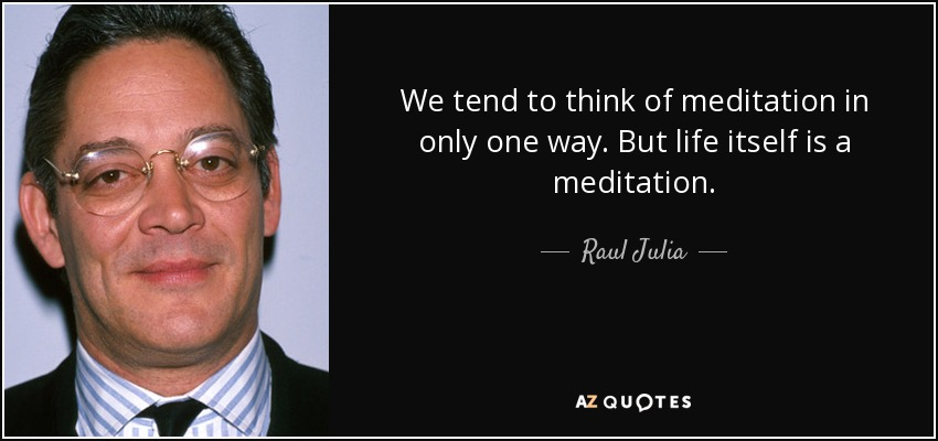 We tend to think of meditation in only one way. But life itself is a meditation. - Raul Julia
