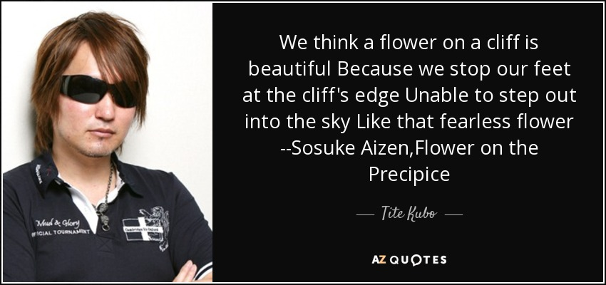 We think a flower on a cliff is beautiful Because we stop our feet at the cliff's edge Unable to step out into the sky Like that fearless flower --Sosuke Aizen,Flower on the Precipice - Tite Kubo