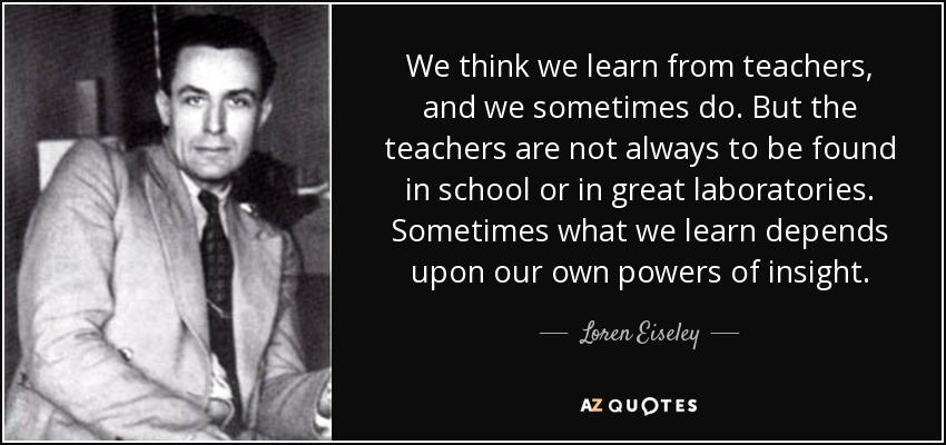 We think we learn from teachers, and we sometimes do. But the teachers are not always to be found in school or in great laboratories. Sometimes what we learn depends upon our own powers of insight. - Loren Eiseley