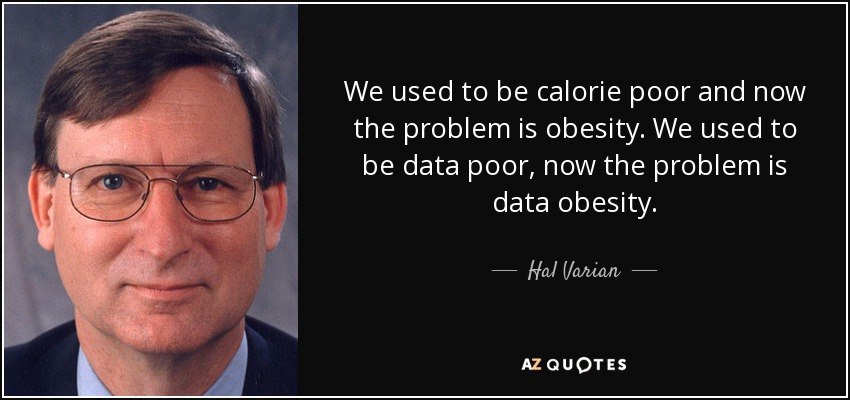 We used to be calorie poor and now the problem is obesity. We used to be data poor, now the problem is data obesity. - Hal Varian