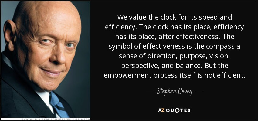 We value the clock for its speed and efficiency. The clock has its place, efficiency has its place, after effectiveness. The symbol of effectiveness is the compass a sense of direction, purpose, vision, perspective, and balance. But the empowerment process itself is not efficient. - Stephen Covey